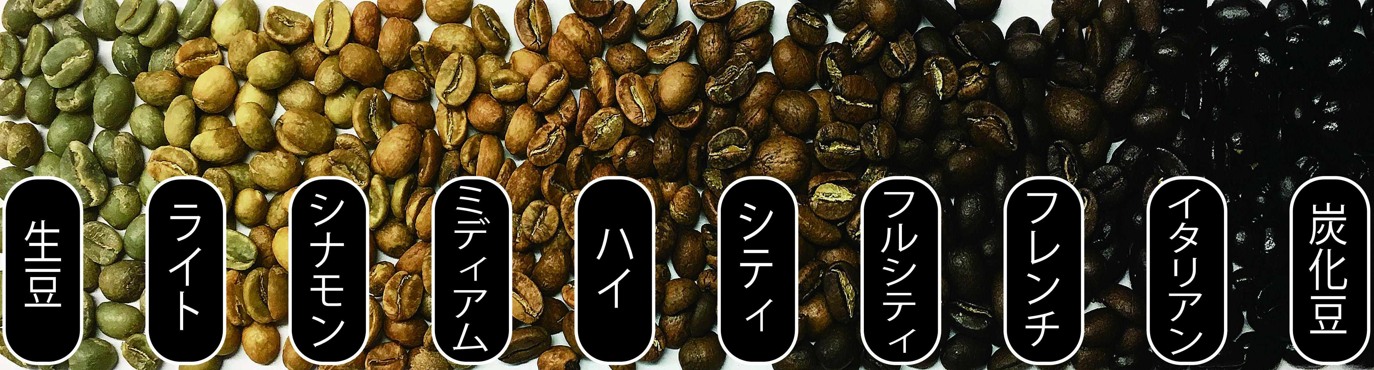 10段階の珈琲豆焙煎チャート